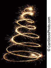 sparkler christmas tree spiral
