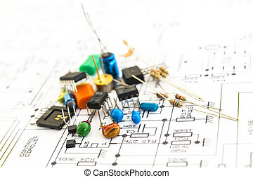 electronic components on a schematic diagram background -...