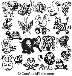 black white set for kids - set with cartoon animals and toys...