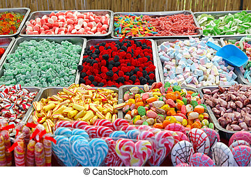 Candies - Collection of colorful gummi candies at market