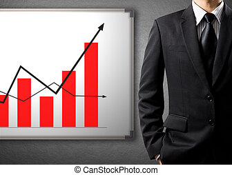 growth chart, success concept - Business man standing and...