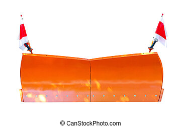 Snowplow - Orange snowplow isolated including clipping path
