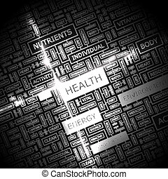 HEALTH. Word cloud illustration. Tag cloud concept collage.