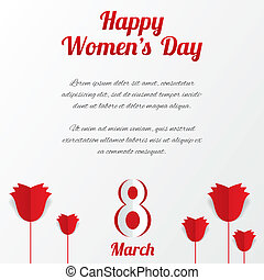 8 March Womens Day card with roses and text - 8 March Womens...