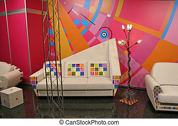 white sofa, color spots