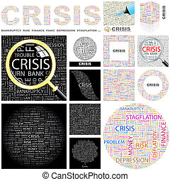 Crisis Concept illustration - Crisis Word cloud illustration...