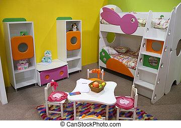 niño, habitación, playroom