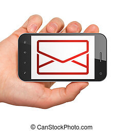 Finance concept: Email on smartphone - Finance concept: hand...
