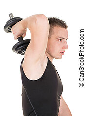 Triceps - Sporty young man doing exercise to strengthen his...