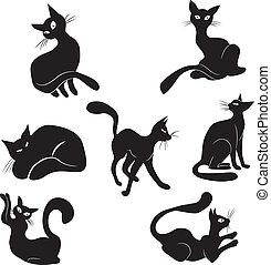 Black cat icon silhouette collectio