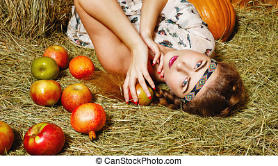 Girl in hayloft - Attractive young rural girl in the hayloft...