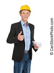 trabajador, Llevando, amarillo, casco, vaqueros,...
