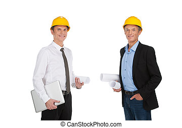 two adult people holding papers businessmen standing...