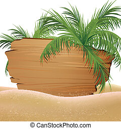 Vector Background with Palm Trees - Vector Illustration of a...