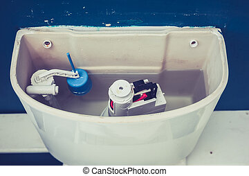 Open cistern of toilet - Toilet cistern in a domestic...