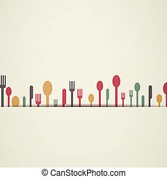 Vector Background with Abstract Cutlery - Vector...