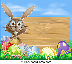Easter eggs basket rabbit