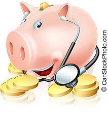 Financial health check conceptual illustration of a piggy...