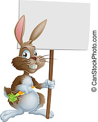 Cute Easter bunny rabbit carrot sig - An illustration of a...