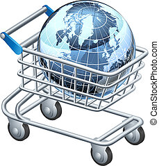 Shopping trolley globe concept, supermarket shopping cart...