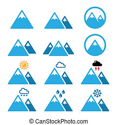 Mountain winter vector icons