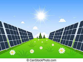 Solar panel produces green energy from the sun