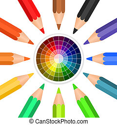 Vector colored pencils arranged in a circle