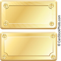 Vector Gold Metal Labels - Nameplates