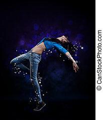 quadril, pulo, dançarino