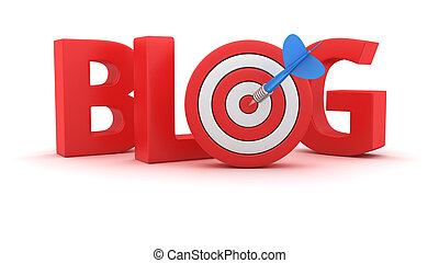 Goal for the Blog - Word Blog with small dartboard on white...