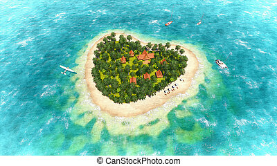 Heart-shaped tropical island - Tropical island in the shape...