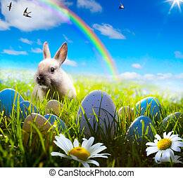 art easter bunny and easter egg on spring field - art easter...