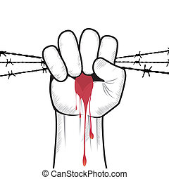Clenched fist hand vector. - Clenched fist hand in blood...