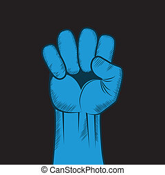 Clenched fist hand vector. Victory, revolt concept....