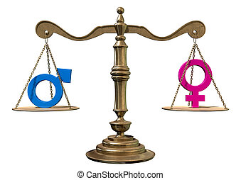 Gender Equality Balancing Scale - A gold justice scale with...