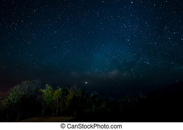Night time with stars in sky - Starfield in night sky with...