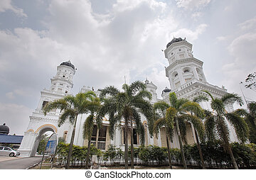 Sultan Abu Bakar State Mosque Building Against Cloudy Blue...