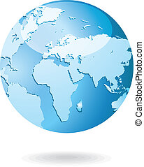 World Map and Globe Detail Vector Illustration icon EPS 10