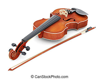 beautiful violin on a white background isolated