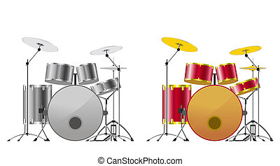Drum sets. - Drum sets black-and-white and color on white...