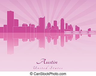 Austin skyline in purple radiant orchid in editable vector...