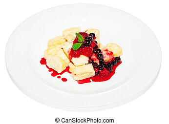 Pudding curd with fruit and syrup dessert on plate