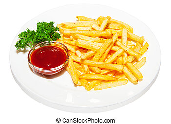 French-fried potatoes with ketchup and parsley on plate