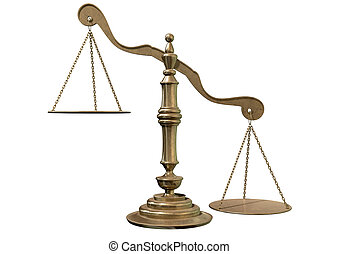 Inequality Scales - An empty bronze justice scale with one...