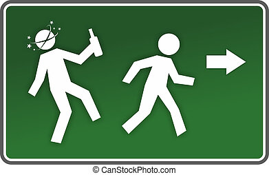 warning sign - illustration of an emergency exit sign with...