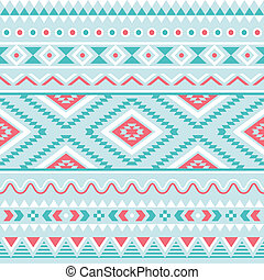 Tribal seamless pattern, aztec blue - Vector seamless aztec...