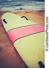 Vintage Surf Board - A Vintage Surf Board On A Deserted Wild...