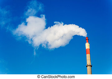industry chimney with exhaust gases - chimney of an...