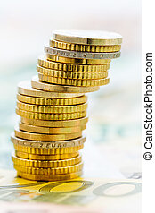 single stack of coins, symbolic photo for financial...
