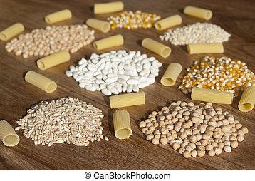 pastas, legumbres, cereales